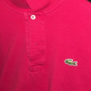 Men's Lacoste red polo short sleeve large 6